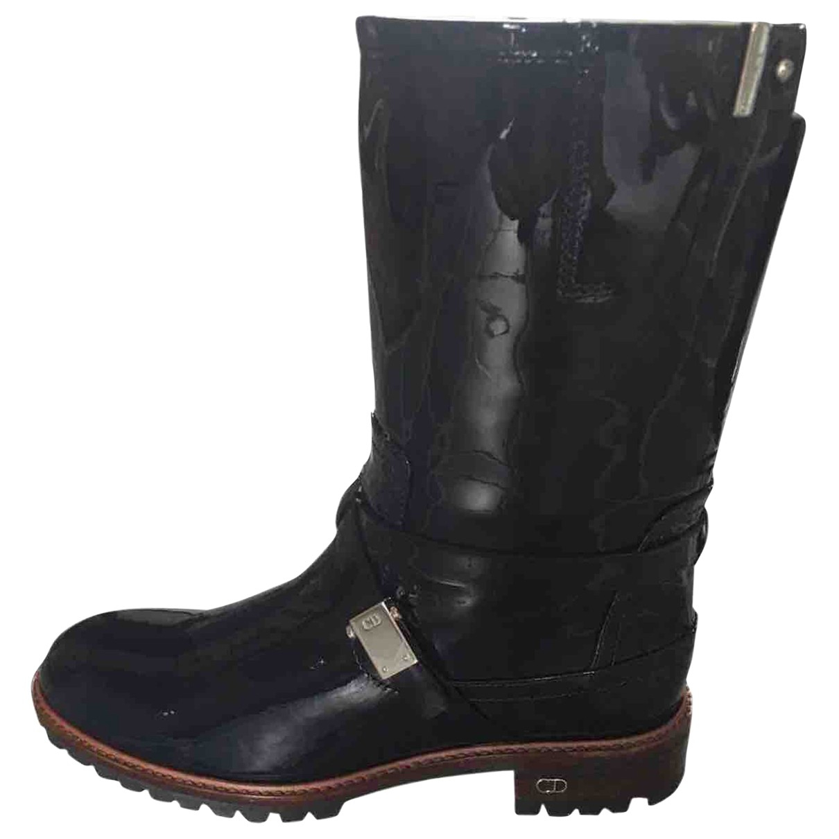 Dior \N Navy Patent leather Boots for Women 40 EU