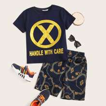 Boys Slogan Graphic Top and Chain Shorts Set