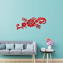 Flower Design Mirror Surface Wall Sticker