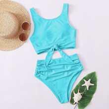 Bikini Badeanzug mit Knoten am Saum, Ruesche und hoher Taille