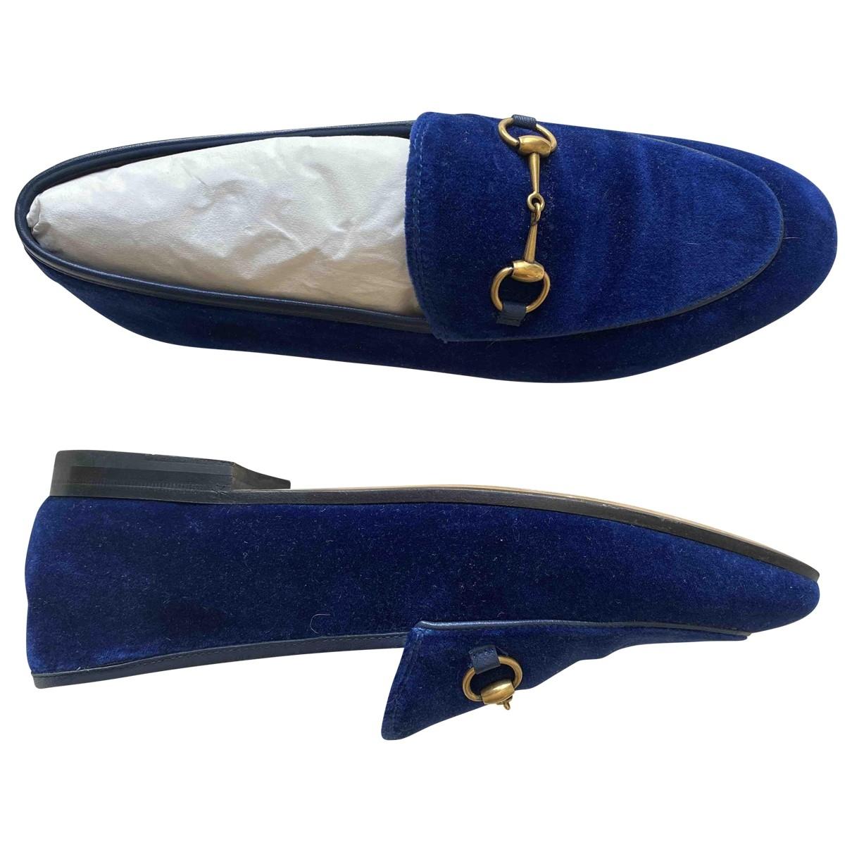 Gucci Jordaan Blue Velvet Flats for Women 39 IT
