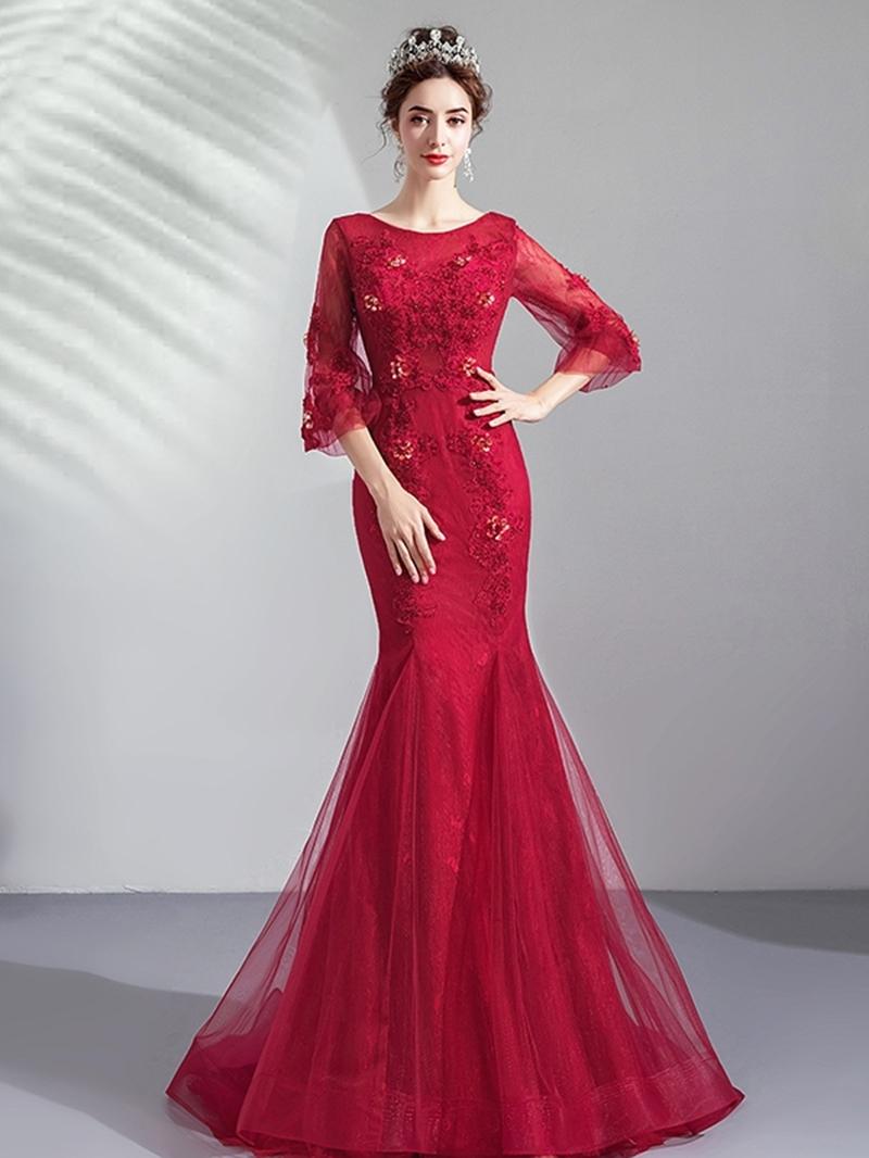 Ericdress Scoop Mermaid Lace Floor-Length Evening Dress