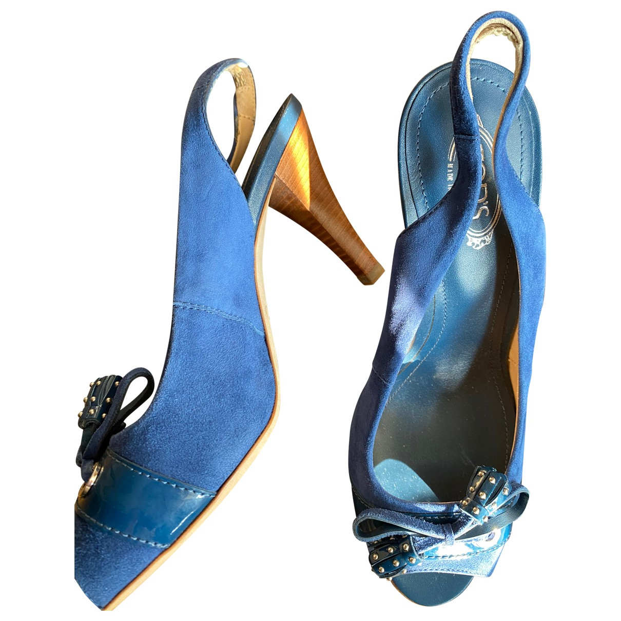 Tod's N Blue Suede Sandals for Women 37 EU