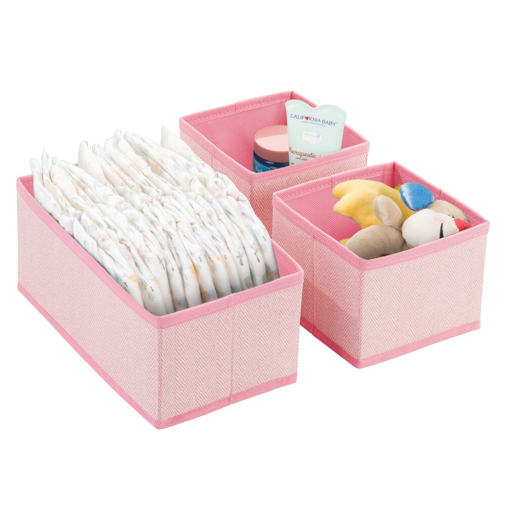 Fabric Baby + Kids Drawer Organizers - Set of in Pink, 12