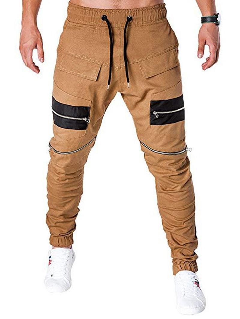 Ericdress Zipper Color Block Lace-Up Low Waist Mens Casual Pants