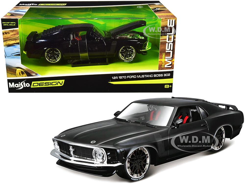 1970 Ford Mustang Boss 302 Black with Matt Black Stripes
