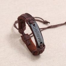 Gewebter Legierung Armband mit Buchstaben Dekor
