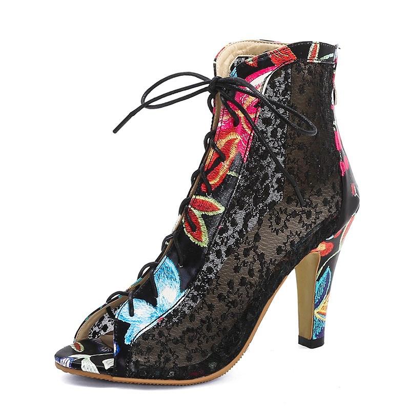 Ericdress Peep Toe Back Zip Chunky Heel Embroidery Boots