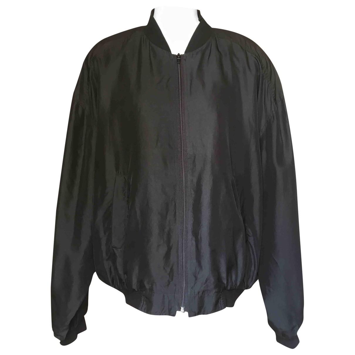 Non Signé / Unsigned Oversize Black Silk jacket for Women L International
