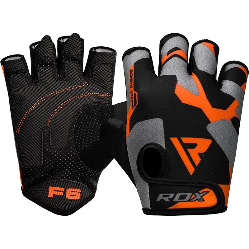 RDX F6 Guantes de Gimnasio Fitness Lycra Naranja Extra Grande