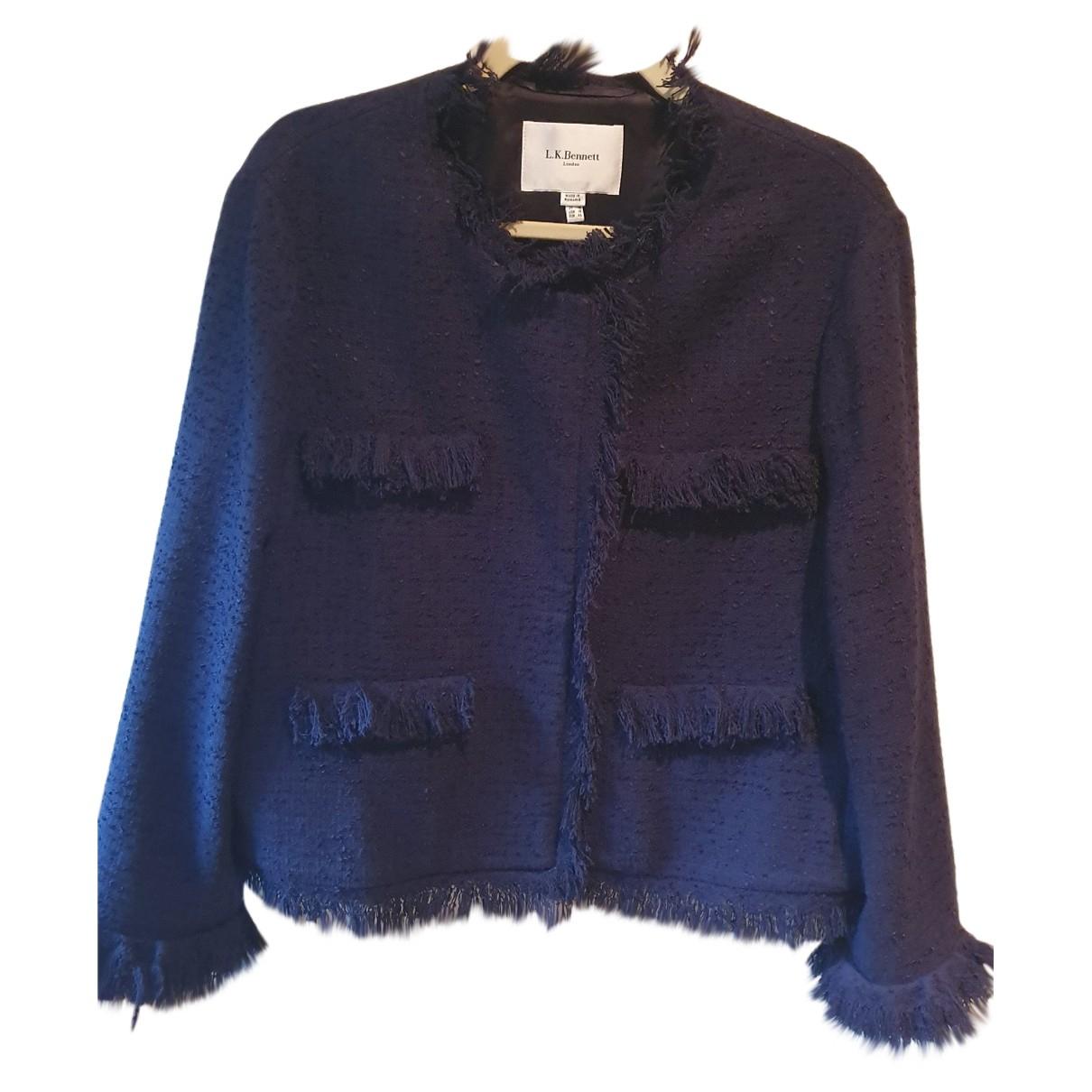 Lk Bennett N Blue Cotton jacket for Women 18-20 UK
