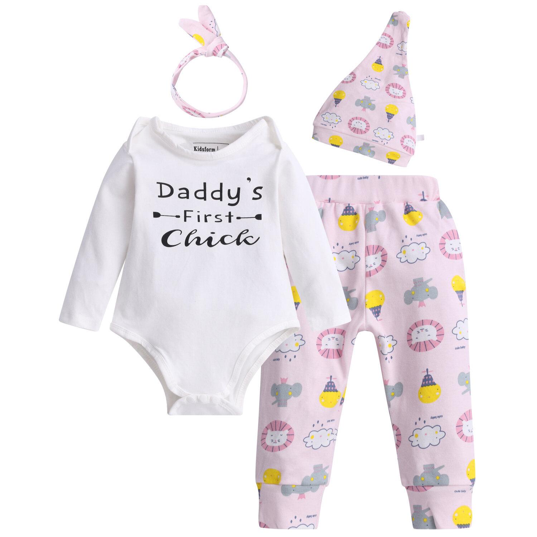 4Pcs Baby Cotton Comfy Romper Pants Set For 0-24M