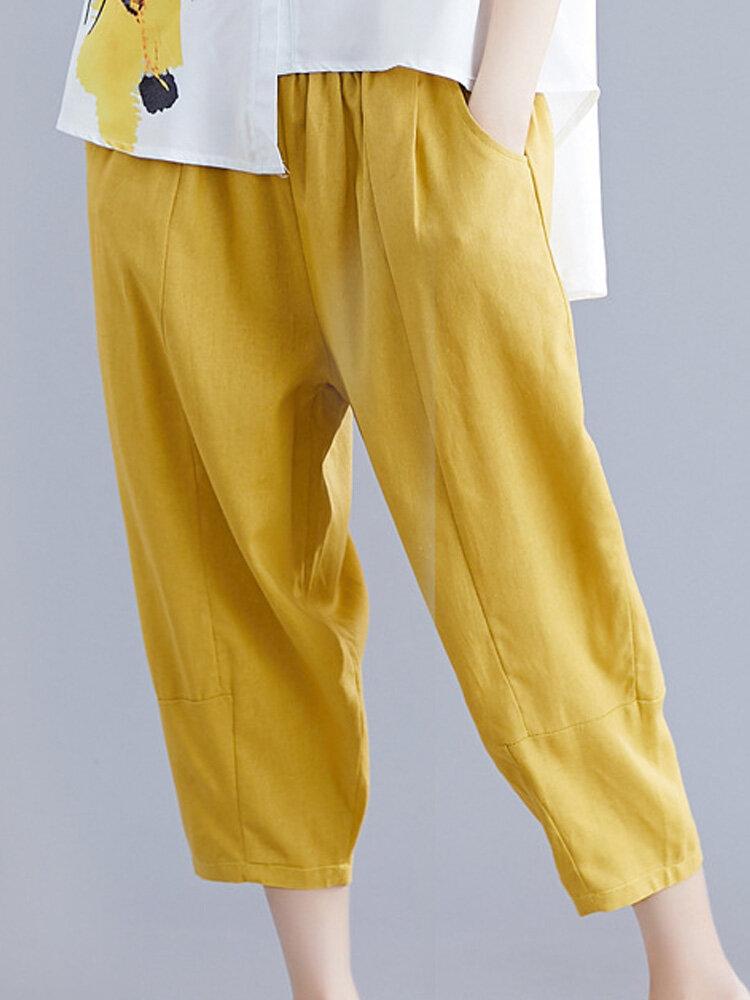 Casual Solid Color Elastic Waist Loose Harem Pants