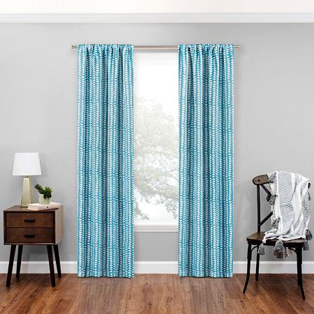 Eclipse Naya Energy Saving Blackout Rod-Pocket Single Curtain Panel, One Size , Blue
