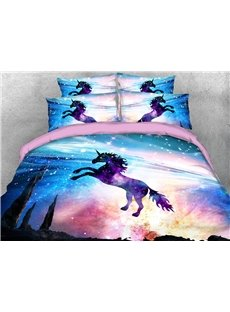 Purple Jumping Unicorn 3D Printed 4-Piece Polyester Bedding Sets/Duvet Covers