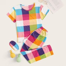 Multicolor Plaid Pajama Set With Eye Cover