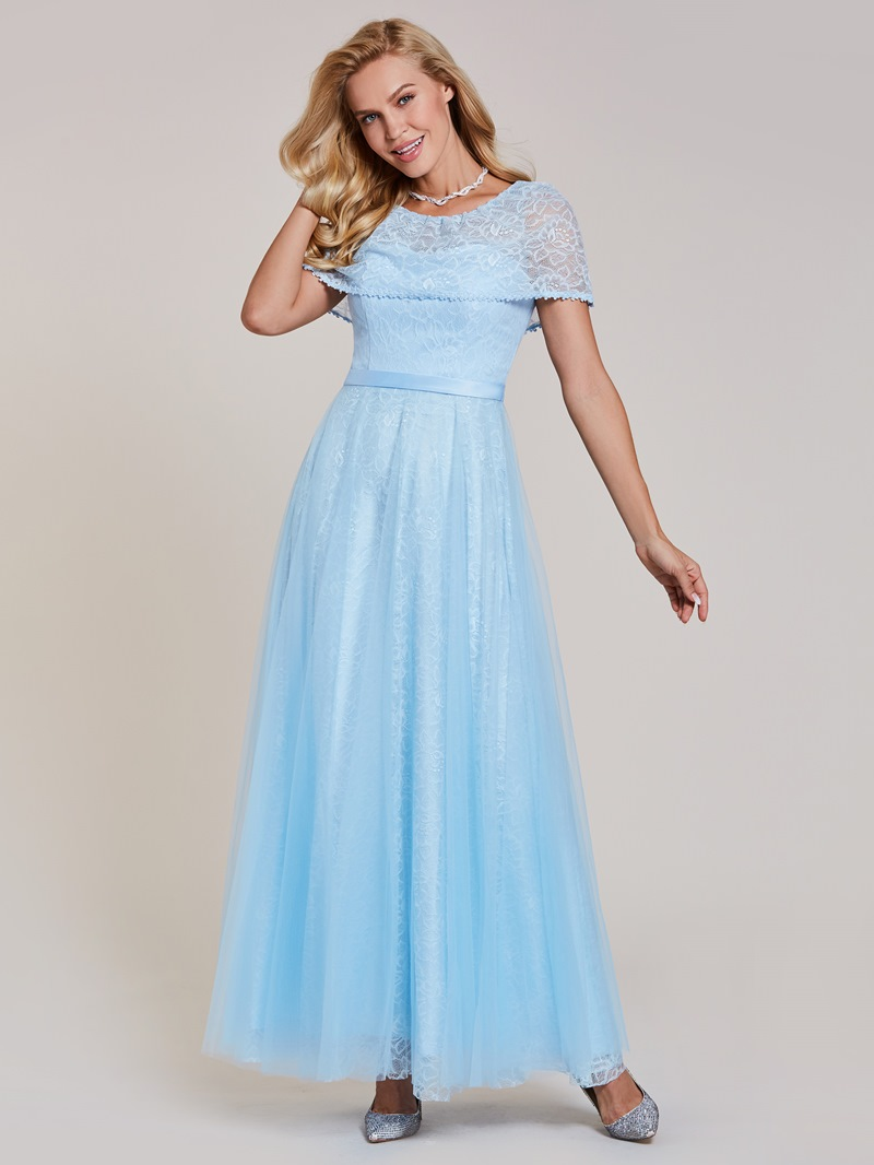 Ericdress A-Line Cape Sleeve Floor-Length Lace Long Evening Dress