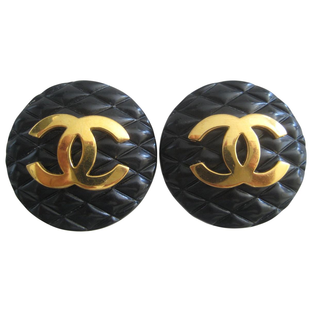 Chanel - Boucles doreilles Matelasse pour femme en plaque or - noir