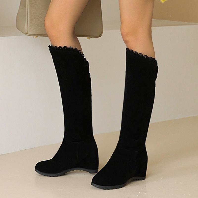 Ericdress Plain Round Toe Hidden Elevator Heel OL Boots