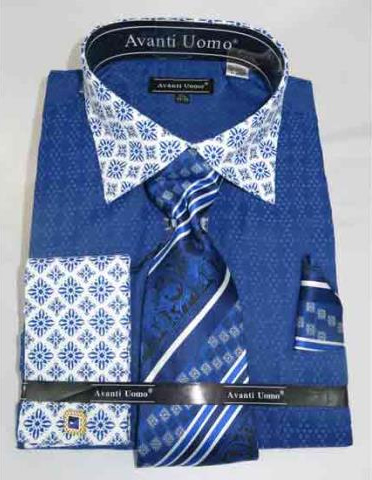 Bird Pattern French Cuff With Contrasting Collar Blue Dress Shirt
