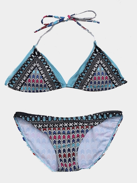 Yoins Colour Block Baroque Pattern Bikini Set