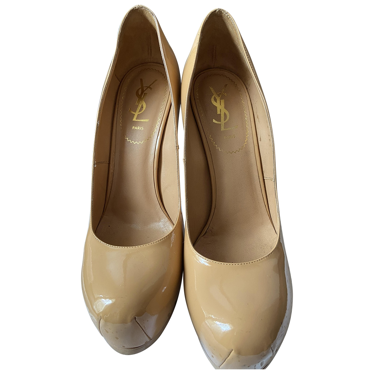 Yves Saint Laurent \N Beige Patent leather Heels for Women 38.5 EU