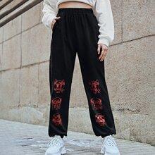 ROMWE X emoji Halloween Print Sweatpants