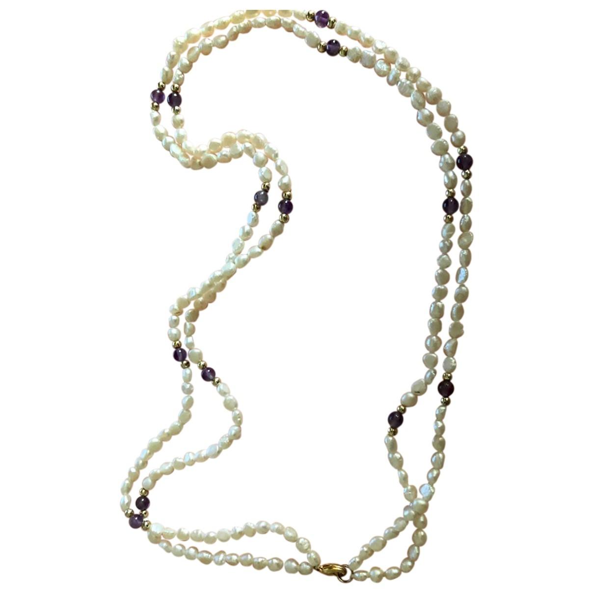 Non Signe / Unsigned Amethyste Kette in  Silber Perlen