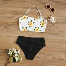 Maedchen Bikini mit Sonneblume Muster und Neckholder