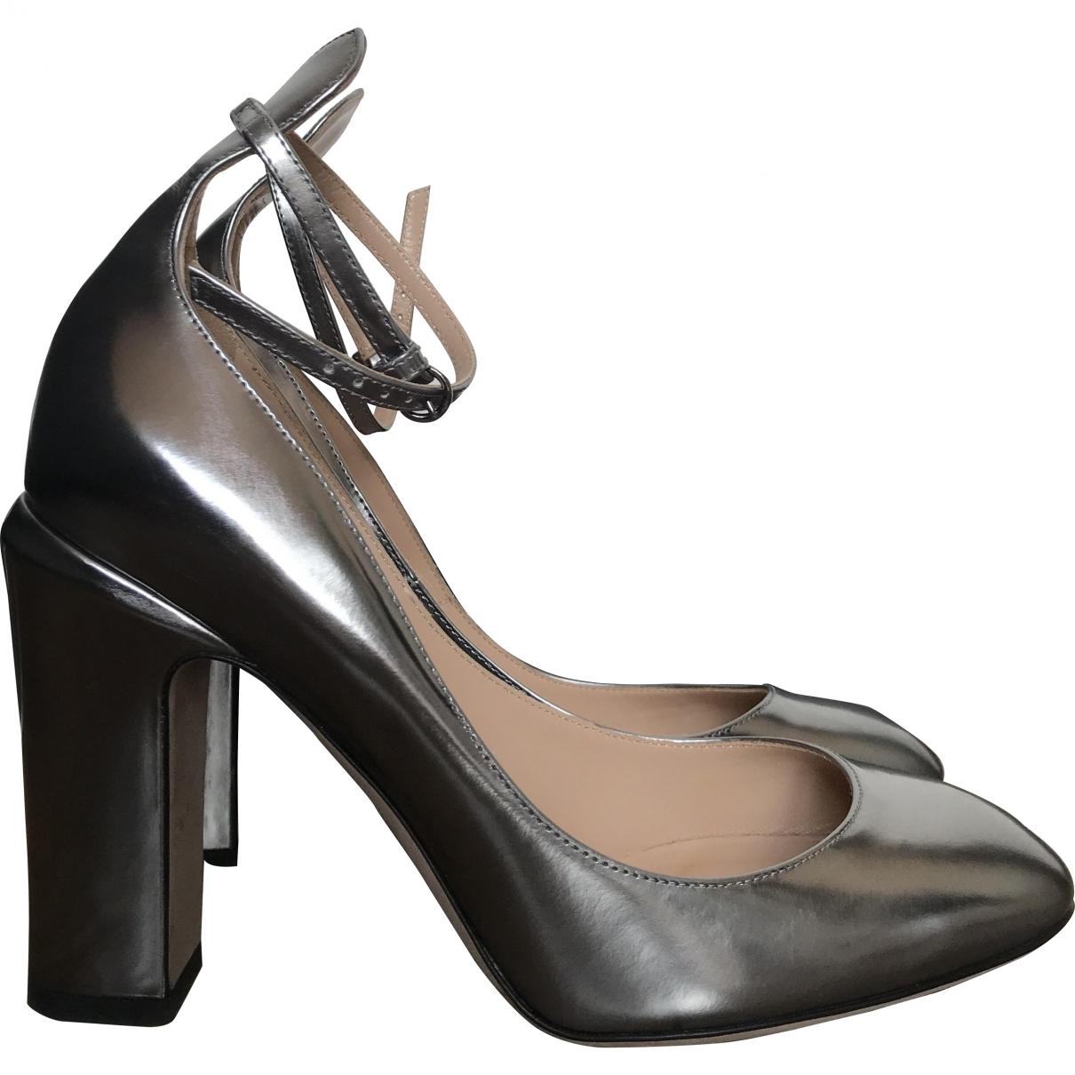 Valentino Garavani Tango Silver Patent leather Heels for Women 38.5 EU