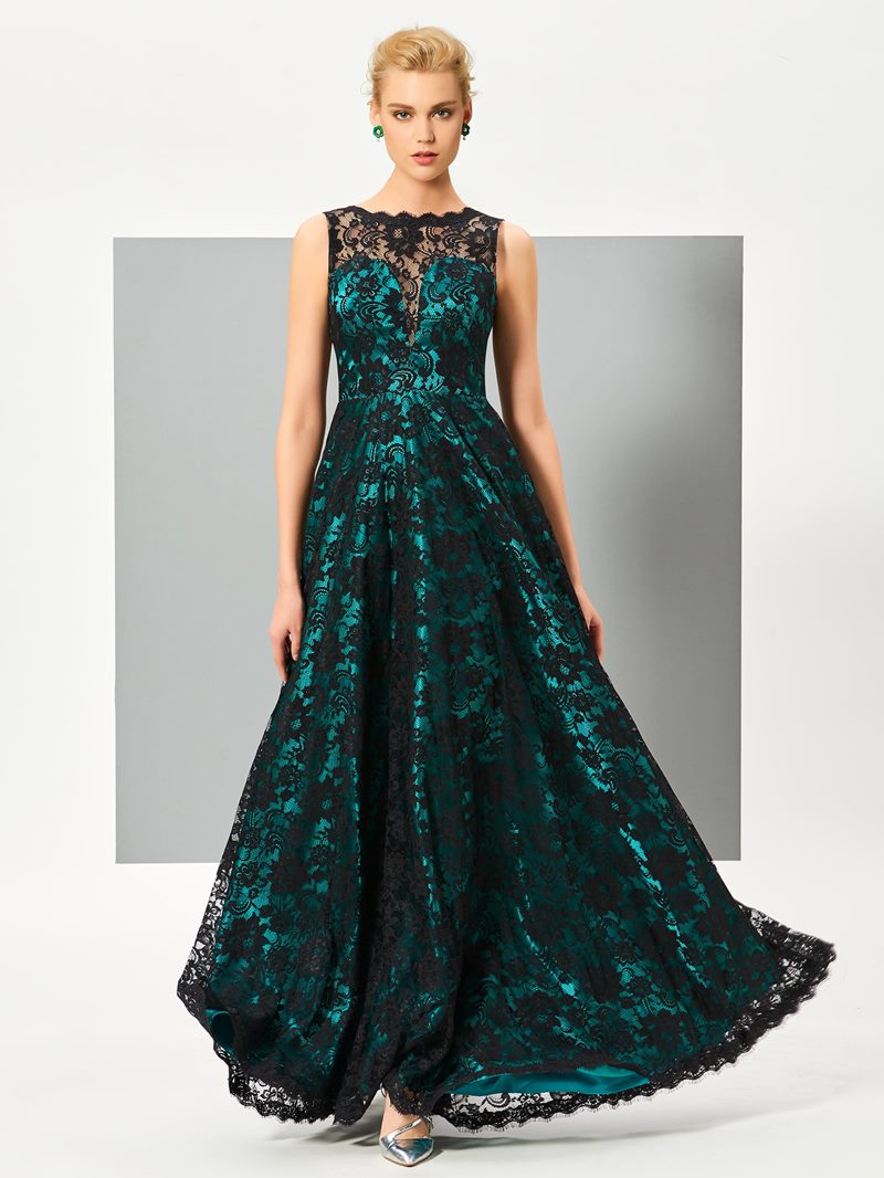 Ericdress Vintage A Line Sleeveless Floor Length Lace Evening Dress