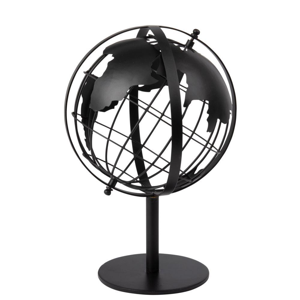 Figur Globus aus Metall, schwarz mit Lochmuster H30