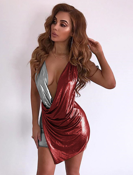 Milanoo Sexy Club Dress Plunging Two Tone Shaping Mini Dress