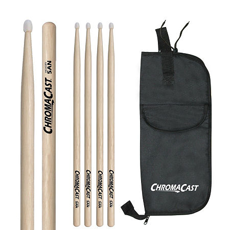 ChromaCast 5AN 3 Pairs of Hickory Nylon-Tipped Drumsticks with Bag, One Size , Beige