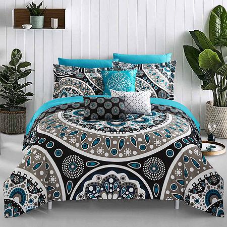 Chic Home Mornington Comforter Set, One Size , Black