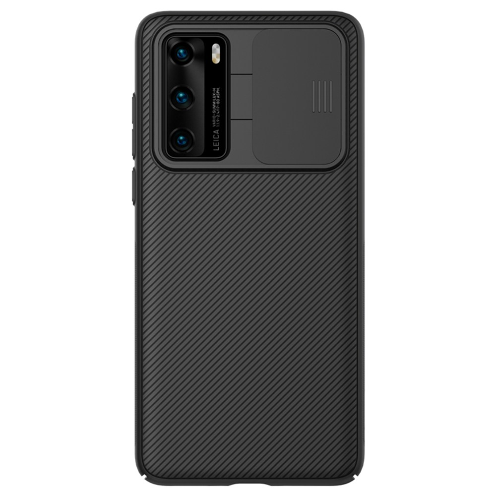 NILLKIN Black Mirror Series Protective Leather Phone Case For Huawei P40 Pro Smartphone - Black