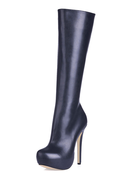 Milanoo Nude High Knee boots Women's Almond Toe Wide calf Platform Patent Leather High Heel Boots