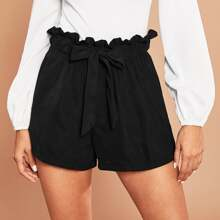 Tie Front Paperbag Waist Paperbag Shorts