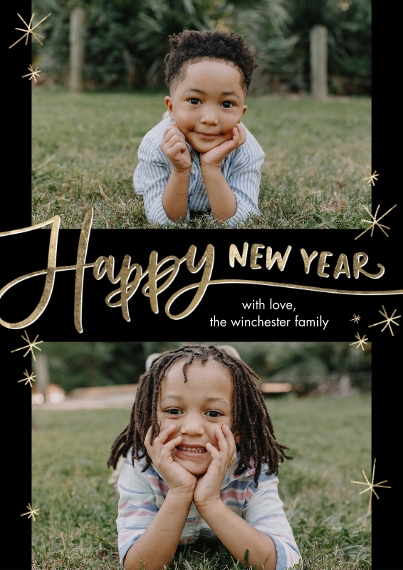 New Year's Photo Cards Flat Matte Photo Paper Cards with Envelopes, 5x7, Card & Stationery -New Year Script Stars by Tumbalina