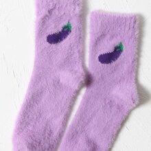 Socken mit Aubergine Muster