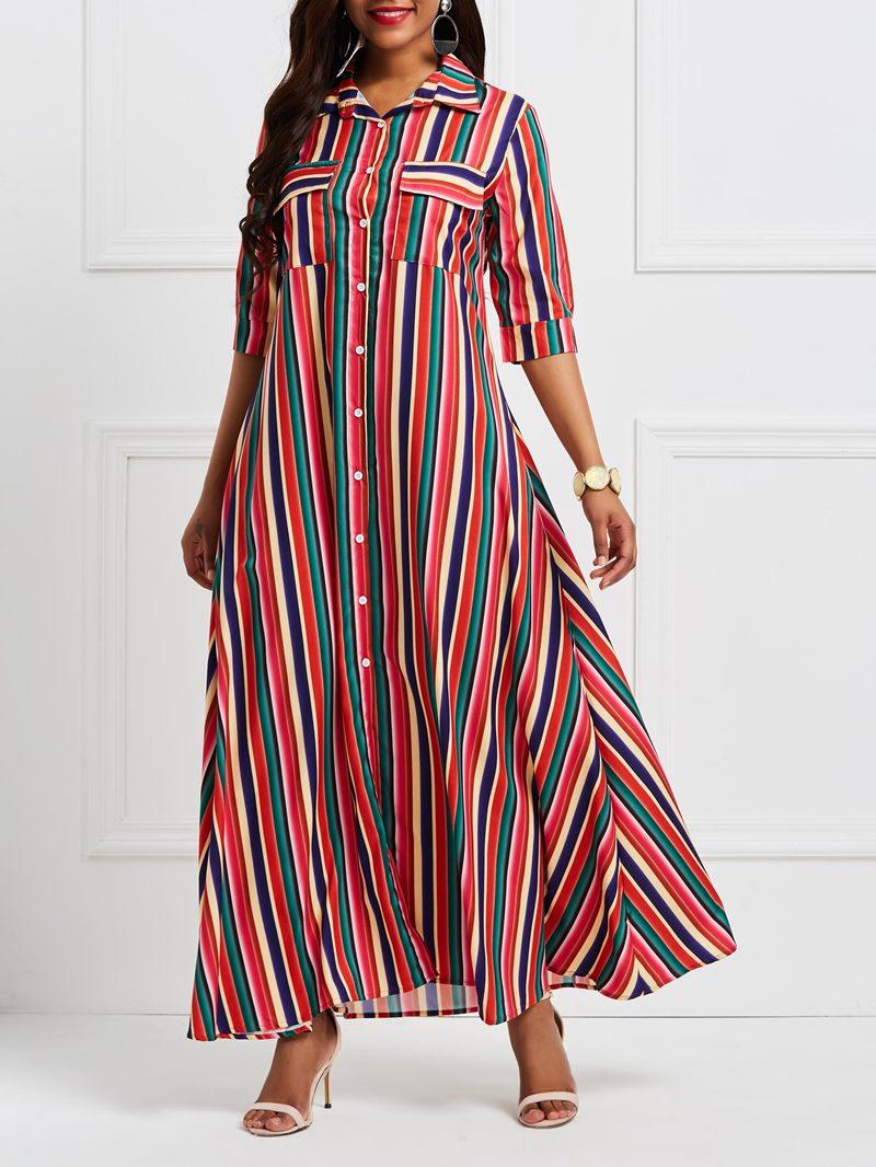 Ericdress Polo Neck Patchwork Pocket Stripe Maxi Dress
