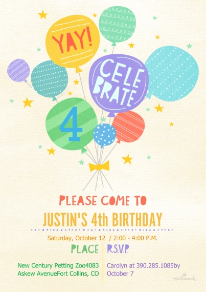 Kids Birthday Party Invites 5x7 Cards, Premium Cardstock 120lb, Card & Stationery -Colorful Celebrate Balloons
