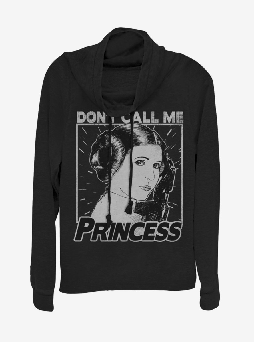 Star Wars No Princess Cowlneck Long-Sleeve Womens Top