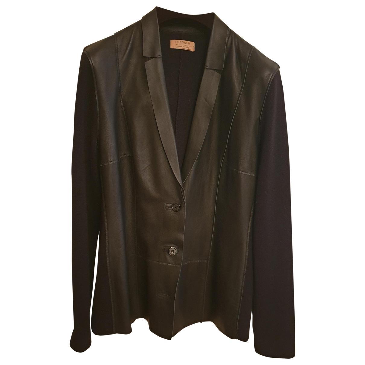 Falconeri - Pull   pour femme en cuir - noir