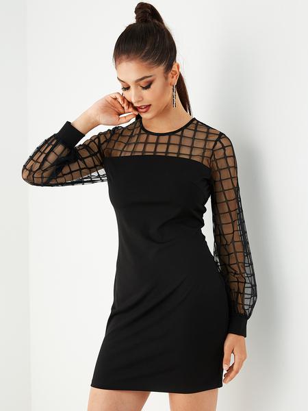 Yoins Black Mesh Grid Print Patchwork Dress
