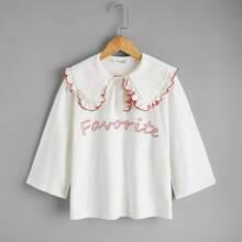 Polo Shirt mit Buchstaben Grafik, Kontrast Saum und Peter Pan Kragen
