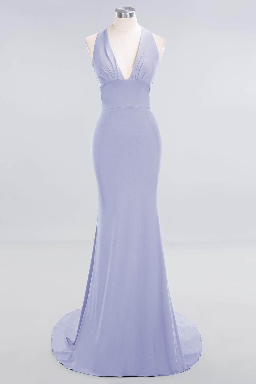 BMbridal Mermaid Halter V-Neck Dark Green Chiffon Bridesmaid Dress with Open Back