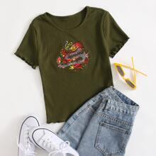 Strick Top mit chinesischem Drache Muster, Stickereien und gekraeuseltem Saum