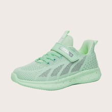 Boys Velcro Strap Low Top Knit Sneakers
