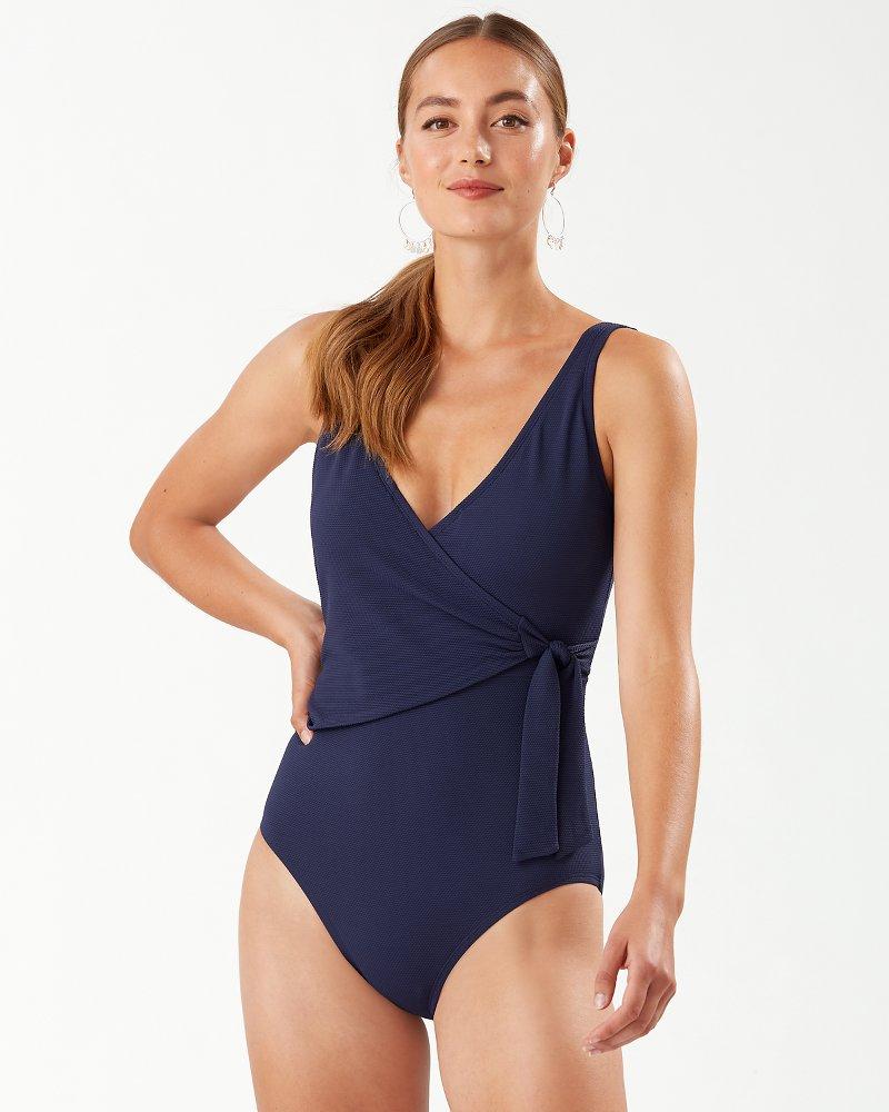 Piqué Colada Wrap Front One-Piece Swimsuit